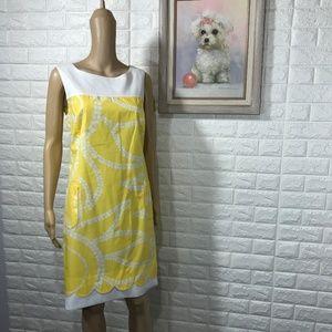 Lilly Pulitzer Yellow and White Shift dress sz 12
